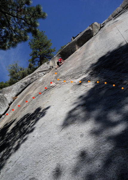 After having lead Red Mushrooms, Doug Steigerwald top ropes the left-hand variation (5.10c X). This quality face climb is protected by just 2 bolts for 80 feet of climbing. <br> <br> The orange dots mark the traditional path taken for this route. If climbing with less experienced folks, the path marked by the red dots is highly recommended. For this variation, start on the first 15 feet of the Last Dihedral and then traverse diagonally into the 2nd bolt of the the 10c. Climbed this way, the route goes at only 5.8.