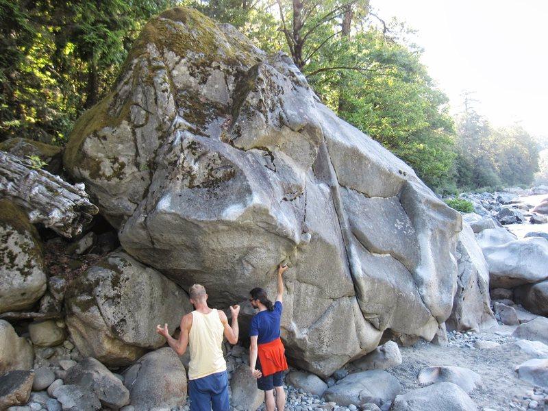 Second major boulder at river.