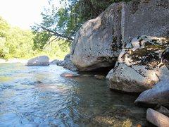 Rock Climbing Photo: 7th boulder at river.