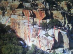 Rock Climbing Photo: Routes highlighted in pink