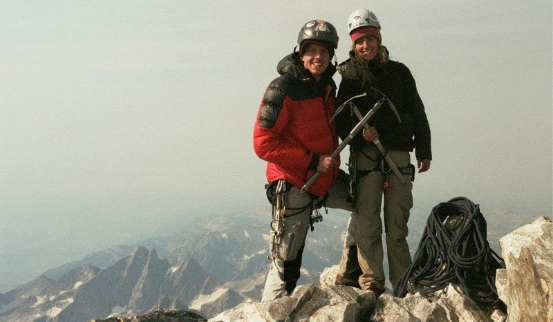 """Jason and Jorden """"Thehackattacks"""" on the summit of the Grand Teton.  (Pedzoldt Direct through the upper Exum) August 2012."""