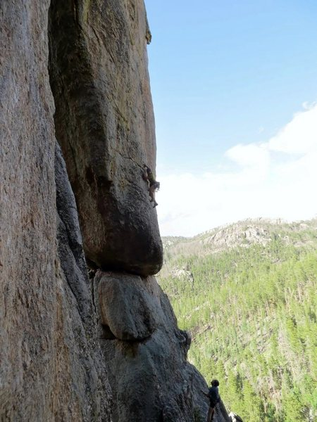Lee Terveen, middle of first traverse crux.