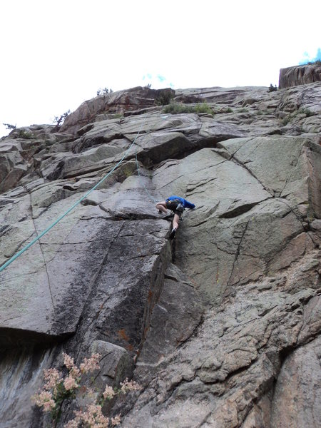 Rock Climbing Photo: George starts on the fun, shallow dihedral.