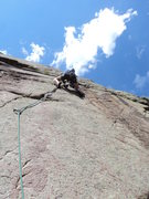 Rock Climbing Photo: George above the tips crack (crux) of what can be ...