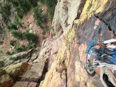 Rock Climbing Photo: Exposure after the traverse on p4. The rest is goo...