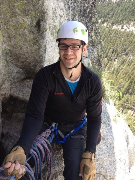 At the belay on Northwest Books (5.6),  Lembert Dome.