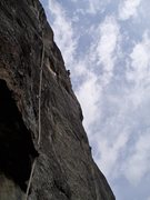 Rock Climbing Photo: Jonathan near the end of the original finish of Sc...