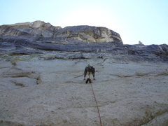 Rock Climbing Photo: Working up the runout but easy 5th class approach ...