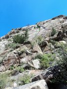 Rock Climbing Photo: Unknown 9+, 9+, pitches 1 & part of 2 in green.  U...