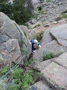 Rock Climbing Photo: George pulls through.
