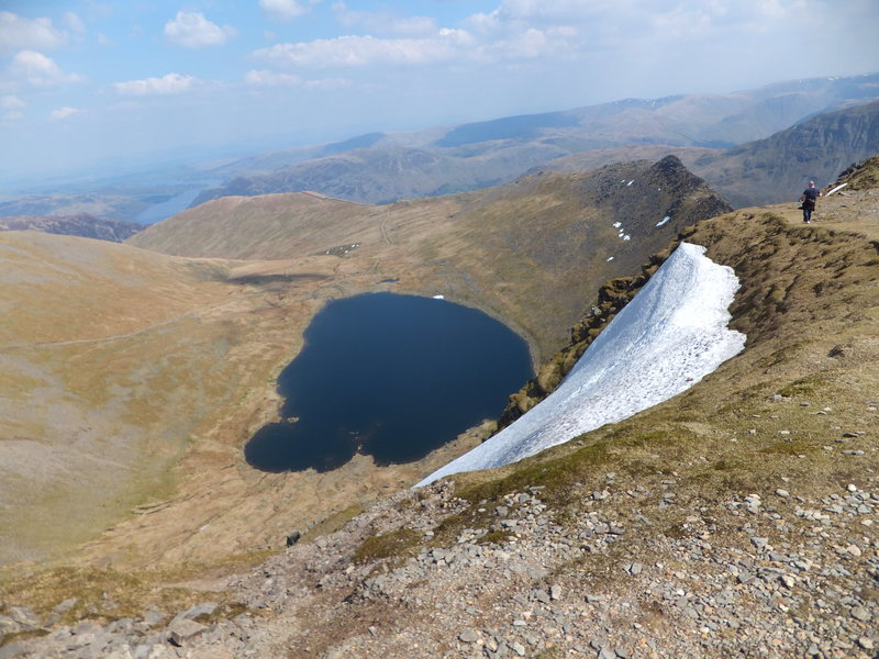 View from the summit down to Red Tarn