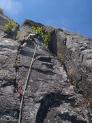 Rock Climbing Photo: Looking up Pitch 2 from the P1 belay.