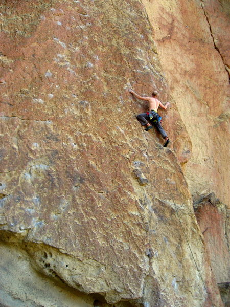 Mycroft Smith post (mental) crux on this great route.  His waist is at the first bolt.