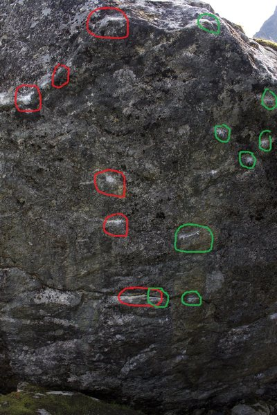 Rock Climbing Photo: Rock Biter is in Green and Falkor is in Red.