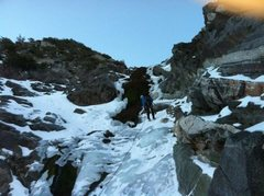 Rock Climbing Photo: Rapping back from the anchor. Less ice here than u...