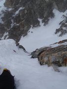Rock Climbing Photo: The crux of the route, a short ice/rock step up fa...