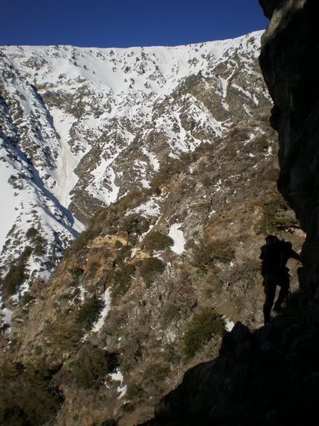 Rock Climbing Photo: Traversing into Mine Gulch from Bighorn Mine on an...