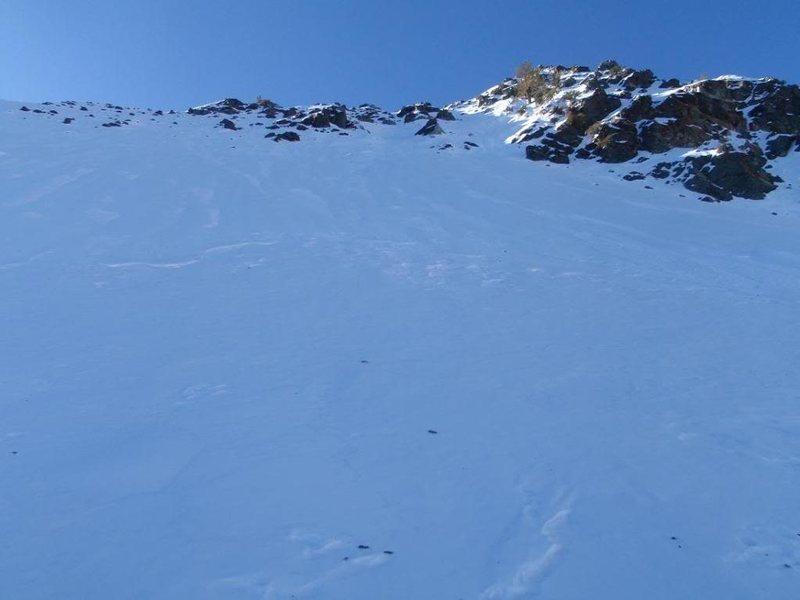 Upper snowfields. Possible avy danger.