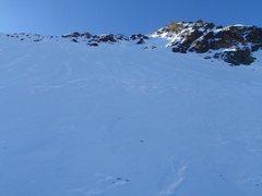 Rock Climbing Photo: Upper snowfields. Possible avy danger.