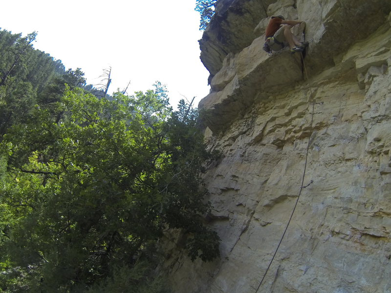 Laybacking the first roof of Jose Conflako, 5.10+<br> <br> The Stadium at Botany Bay.<br> Spearfish Canyon.