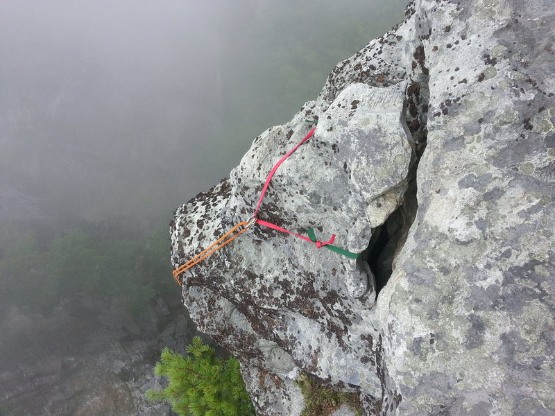Rap anchor at top.  At the end of overlook and at the bonsai like tree, look over edge to left.  This will put you out exactly 95' to the nut anchor.  Just retrieve it at the end of the day right next to your packs.