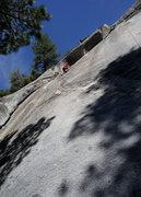 Rock Climbing Photo: Doug Steigerwald climbs the left-hand variation of...
