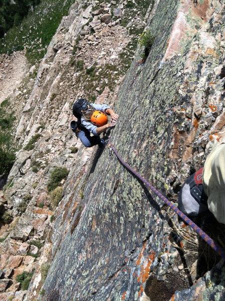 Rock Climbing Photo: Franziska focused on the last bit of climbing to t...