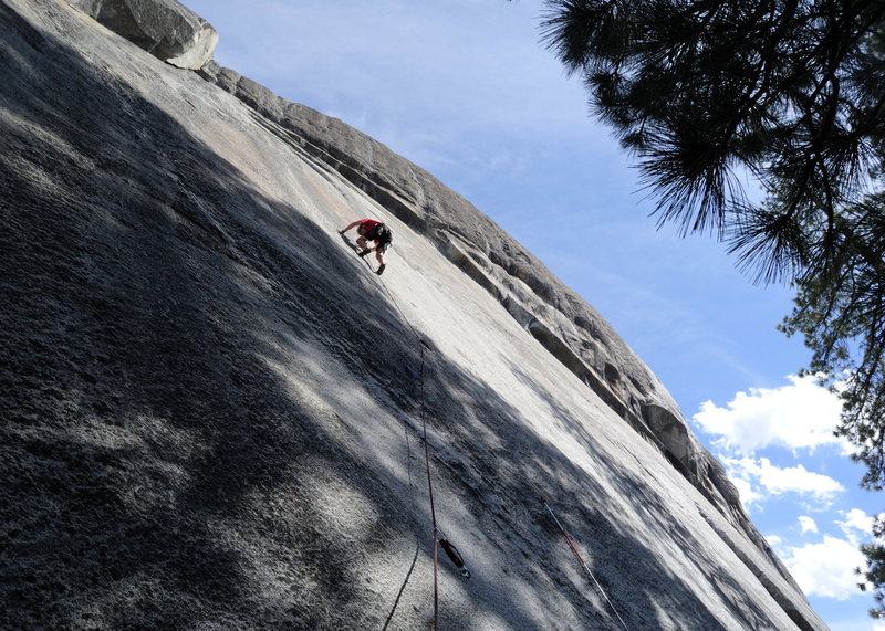 You can not talk about Dome Rock without referencing the many outstanding slab climbs. Here, Doug Steigerwald leads Red Mushrooms (5.10+), one of the Dome's better-protected slabs.