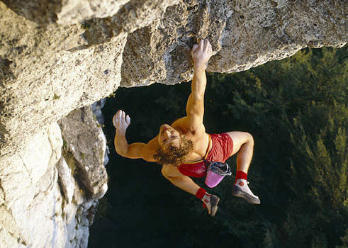 Rock Climbing Photo: Kurt Albert free soloing Devil's Crack on Röthelf...