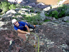 Rock Climbing Photo: Steve Tweito finishing the second pitch, Mark Trai...