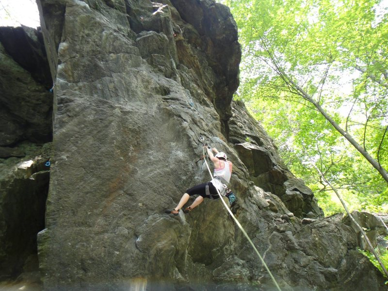 Rock Climbing Photo: the tricky crux at the bottom of the climb very ha...
