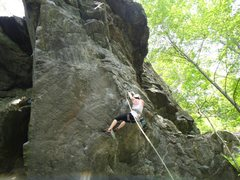 Rock Climbing Photo: the tricky crux at the bottom of the climb very ha...