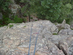 Rock Climbing Photo: Looking down the route.