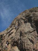 Rock Climbing Photo: Kevin leading the FA.