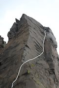 Rock Climbing Photo: Thin gear around the arête, then finger to hands!