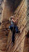 Rock Climbing Photo: Chrish nearing the anchors