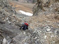 Rock Climbing Photo: Ernest Leonard scrambling the last bit of the coul...