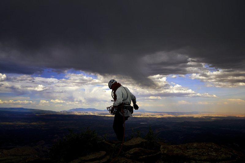Rock Climbing Photo: Time to bail. Photo by Scott Carson.