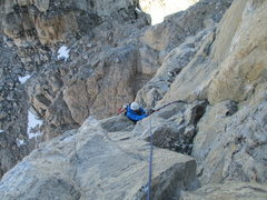 Rock Climbing Photo: Near the top of the 2nd pitch (5.8). Some pins dur...