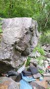 Rock Climbing Photo: Blair on the bump move.