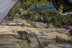 Rock Climbing Photo: Jeff Noffsinger cleaning the second pitch of Tale ...