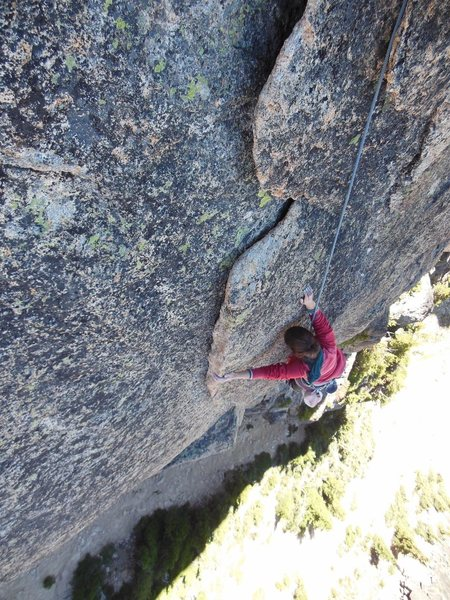 Rock Climbing Photo: The great flake system on the third pitch.