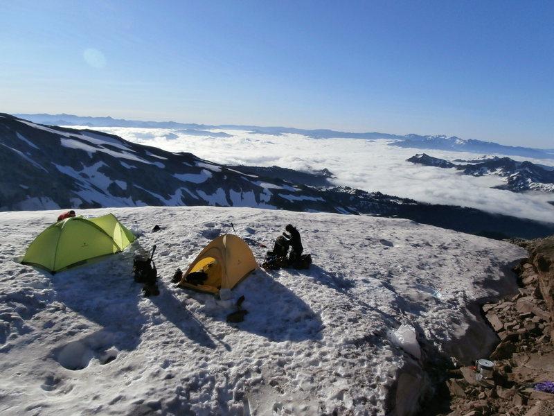 Rock Climbing Photo: Camp along the way up the Kautz route on Rainier.