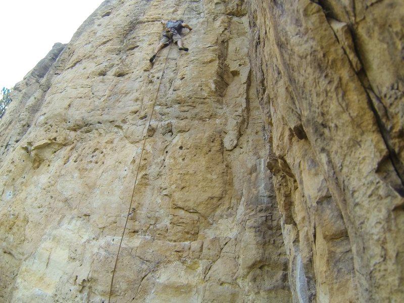 Blue Sky Blonde, 5.11d<br> The Danks, Spearfish Canyon.<br> South Dakota.