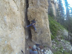 Rock Climbing Photo: Michelle about to finish off The Roach, 5.10a  The...