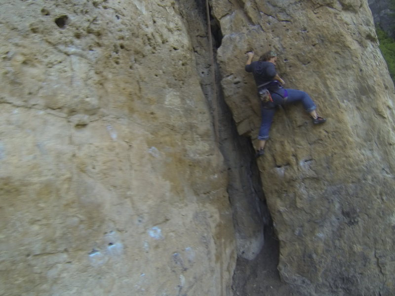 Rock Climbing Photo: Michelle on The Roach, 5.10a
