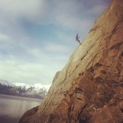 Rock Climbing Photo: rapping off a 5.8 at Red Gate