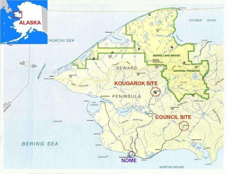 A map of the Seward Peninsula.