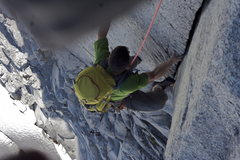 Rock Climbing Photo: Mason coming up pitch 4.  Taken from the hanging b...