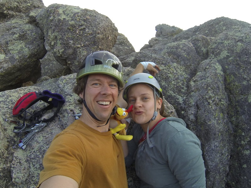 Me, Michelle and our pal the chicken at the belay ledge of Classic Crack.
